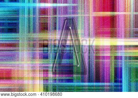 Delta Sign. Delta Letter, Greek Alphabet Symbol, Colorful Checkered Background
