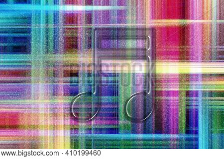 Beamed Sixteenth Note Symbol, Music Backgroundd, Colorful Checkered Background