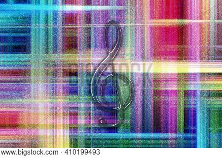 Treble Clef, Music Clef Sign, Treble Clef Symbol, Colorful Checkered Background