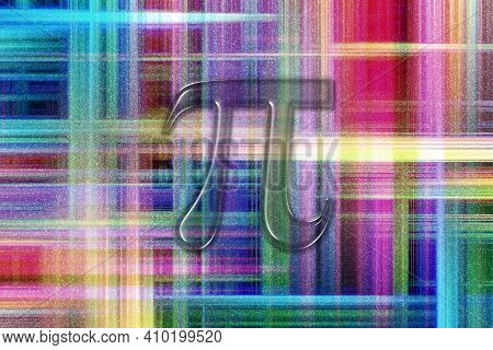 Pi Mathematical Constant, Greek Letter Pi 3.14, Pi Symbol, Colorful Checkered Background