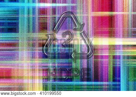 Hdpe, Plastic Recycling Symbol Hdpe 2, Colorful Checkered Background