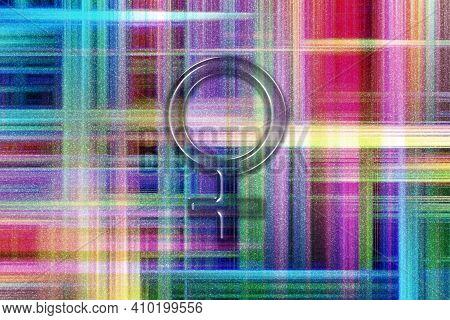 Venus Sign, Planet Venus Symbol, Colorful Checkered Background