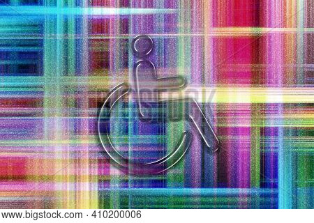 Wheelchair Sign, Disabled Symbol, Disabled Handicap, Colorful Checkered Background