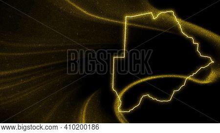 Map Of Botswana, Gold Glitter Map On Dark Background