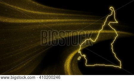 Map Of Cameroon, Gold Glitter Map On Dark Background