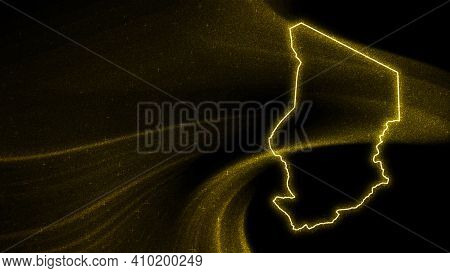 Map Of Chad, Gold Glitter Map On Dark Background