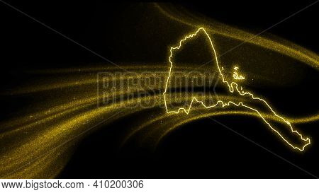 Map Of Eritrea, Gold Glitter Map On Dark Background