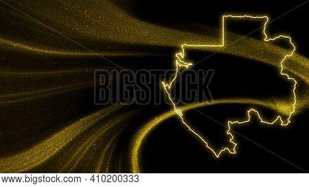Map Of Gabon, Gold Glitter Map On Dark Background