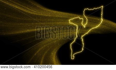 Map Of Mozambique, Gold Glitter Map On Dark Background