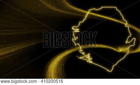 Map Of Sierra Leone, Gold Glitter Map On Dark Background