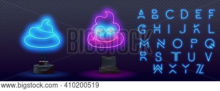 Glowing Neon Shit Icon Isolated On Brick Wall Background. Neon Light Alphabet. Neon Icon Poop, Shit,