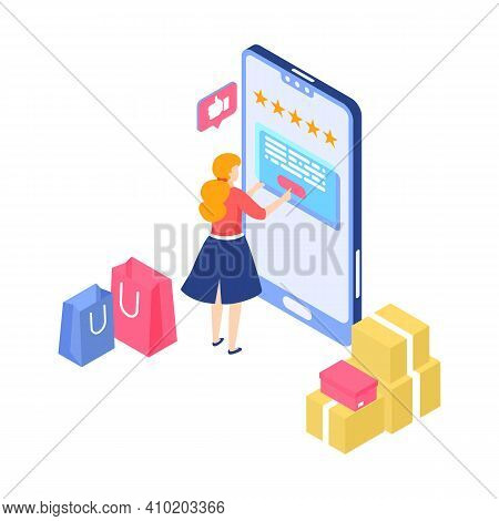 Online Shopping. Cartoon Woman Makes Purchases In Mobile Application. Smartphone App With Customer F