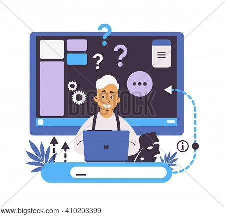 Online Help And Web Forum. Searching Information Concept. Faq Or Customer Support. Feedback With Con