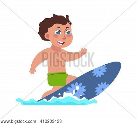 Kids Surfing. Cartoon Boy Riding Board On Ocean Waves. Extreme Water Sport. Active Pastime At Beach.
