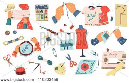 Embroidery Set. Cartoon Needle Work And Hand Made Hobby Collection, Sewing Tools And Instruments, Th