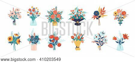 Flower Bouquet. Bunch Of Plants In Vase And Glass Bottle Collection, Cartoon Blooming Peony And Colo
