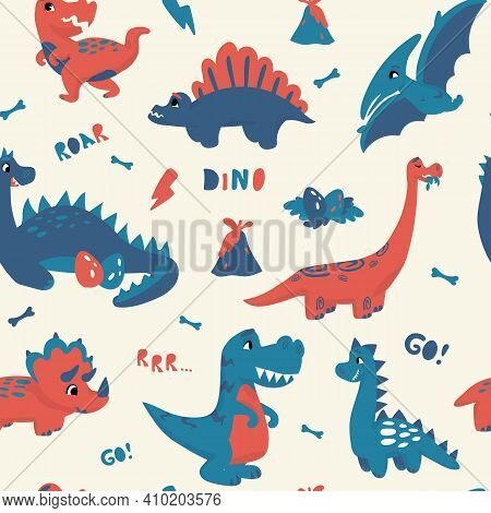 Cute Dinosaur Pattern. Seamless Texture With Prehistoric Adorable Animals, Hand Drawn Cartoon Kids C