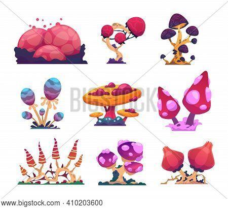 Alien Mushrooms. Cartoon Colorful Fantasy Flora. Extraterrestrial Nature. Mystical Magical Ingredien