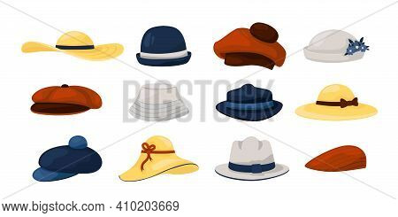 Hats. Men And Women Fashion Vintage Caps And Panamas, Classic Ladies And Gentlemen Had Wearing Colle