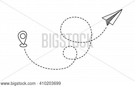 Plane Travel Line. Hand Drawn Flight Route. Flying Aircraft With Winding Dotted Trace. Dashed Path O