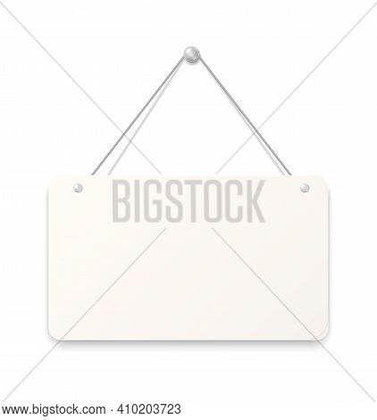 Hanging Sign. Realistic Blank Signboard. White Paper Sheet Attached To Wall With Metallic Button. Em