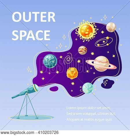 Outer Space Backdrop With Planets And Telescope. Great For Outer Space Party Invitation, Education B