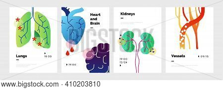 Body Organs Poster. Abstract Doodle Banners Set With Lungs And Kidneys, Heart Or Brain. Circulatory