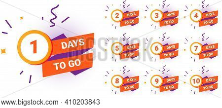 Days Countdown. Count Amount Of Time Until End Of Limited Promotion. Minimal Sale Banners Or Special