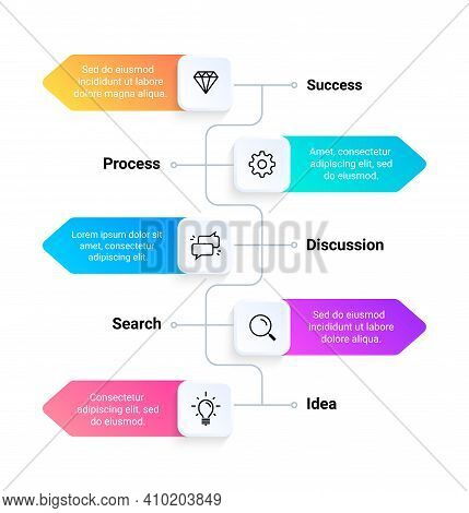 Flowchart. Timeline Business Infographic Template, Workflow And Option Presentation Layout. Vertical