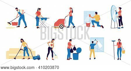 Housekeeper. Cartoon Characters With Mops And Buckets Washing Floor Or Window. People Taking Out Tra