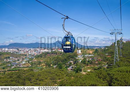 Da Lat, Vietnam - December 28, 2015: On The Cable Car Of The City Of Da Lat
