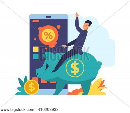 Online Banking. Mobile Bank Application Concept. Wealthy Happy Man Makes Successful Deposits And Inv