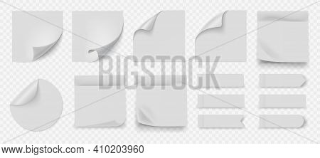 White Sticky Note. Realistic Square And Round Blank Papers With Adhesive Edges. Folded Corners Sheet