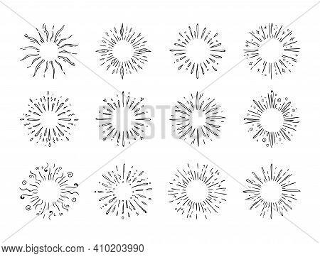 Hand Drawn Starburst. Doodle Explosion Or Sun Shine. Abstract Round Contour Water Splash. Minimal Fi