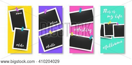 Social Media Editable Story Frames. Trendy Banners With Blank Moment Photos. Photographs Attached To