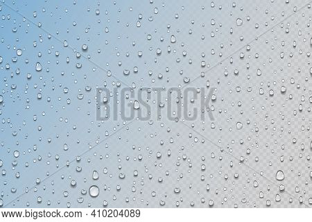 Water Drops. Realistic Rain Droplets On Window. Shower Glass. Round Aqua Drips On Transparent Backgr