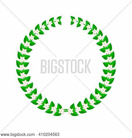 Laurel Wreath With Flowers. Flat Vector Illustration Isolated On White.