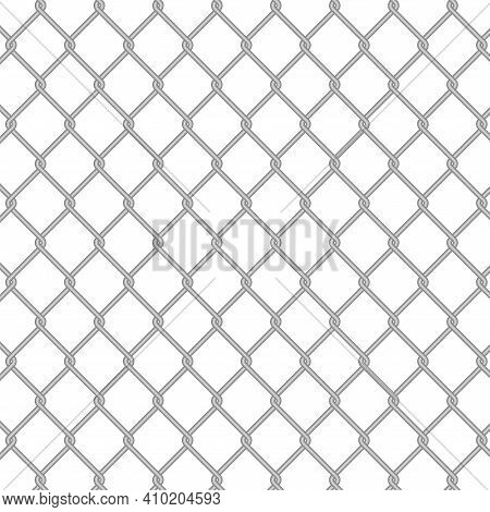 Chain Link Fence Wire Mesh Steel Metal. Fence Section. 3d Vector Illustration Isolated On White.