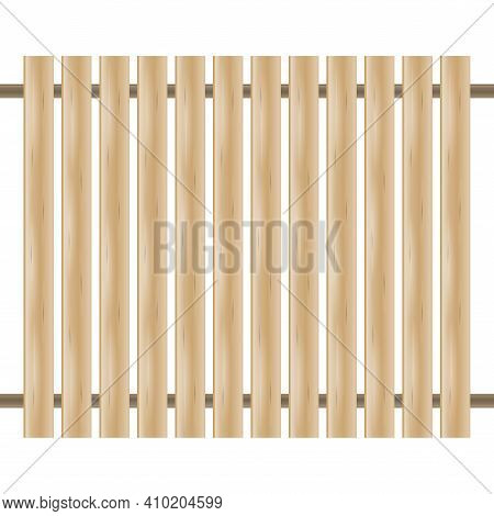 Board Fence. Wooden Fence On White Background. Fence Section. 3d Vector Illustration Isolated On Whi