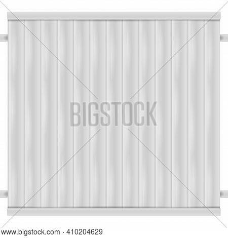 White Wooden Fence. Fence Section. 3d Vector Illustration Isolated On White.