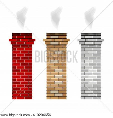 Brick Fireplace Chimney Pipes. Vector Smoke. Red, Brown And White Brick Chimney. 3d Vector Illustrat