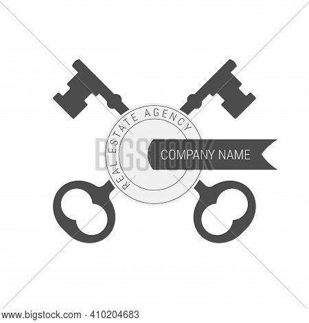 Crossed Keys Emblem Template. Flat Vector Illustration Isolated On White.