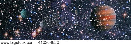 Abstract Background With Night Sky And Stars. Panorama View Universe Space Shot Of Milky Way Galaxy