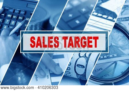 Business And Finance Concept. Collage Of Photos, Business Theme, Inscription In The Middle - Sales T