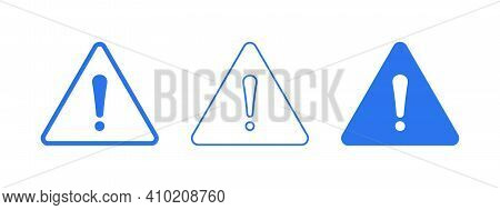 Warning Sign Icon In Flat And Line Style. Attention Or Danger Sign Element For Ui. Set Of Blue Warni