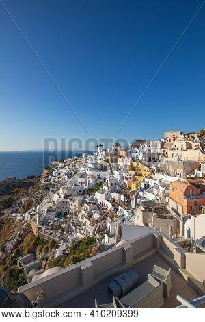 Oia Town On Santorini Island, Greece. Santorini, Oia, Greek Island, Beautiful View Of The Top. White