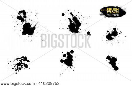 Ink Drops And Splashes. Artistic Dirty Grunge Abstract Spot Vector Set. Set Of Black Splash On White