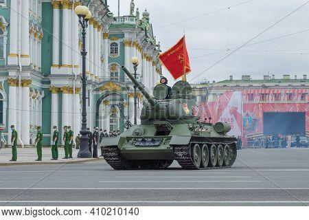 Saint Petersburg, Russia - June 20, 2020: Soviet Tank During The Great Patriotic War - T-34 On The R