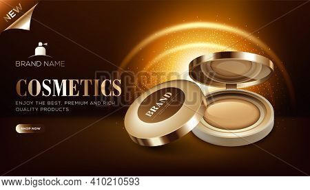 Cosmetic Ads Template Of Mini Foundation Box On Blrown Glossy Background And In 3d Illustration