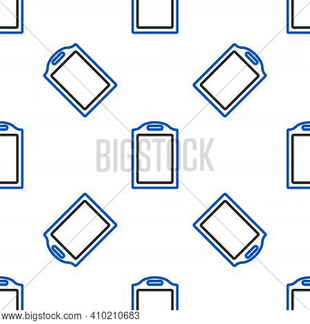 Line Cutting Board Icon Isolated Seamless Pattern On White Background. Chopping Board Symbol. Colorf